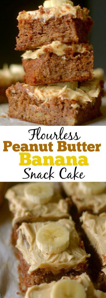 Flourless Banana Snack Cake is fluffy and moist made with only 5 real ingredients and topped with a peanut butter frosting! Can be paleo and vegan too! | Gluten-Free Cake | Healthy Banana Cake | Low Carb Baking | Grain-Free | Dairy-Free | Easy Paleo Cake | Easy Vegan Cake |