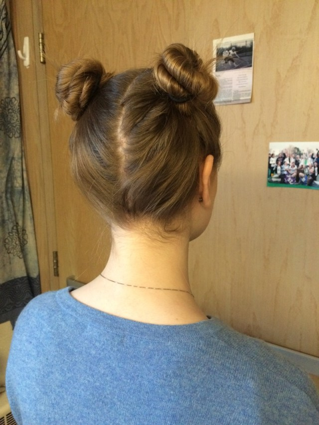 power buns - great hairstyles for playing sports with long hair