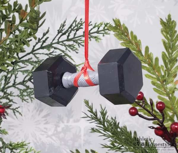 Dumbbell Christmas Ornament Crossfit Decoration Strength Sports Decor Athlete Gift