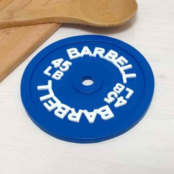 Barbell 45lb Trivet Hot Pad Spoon Rest Sports Kitchen Decor