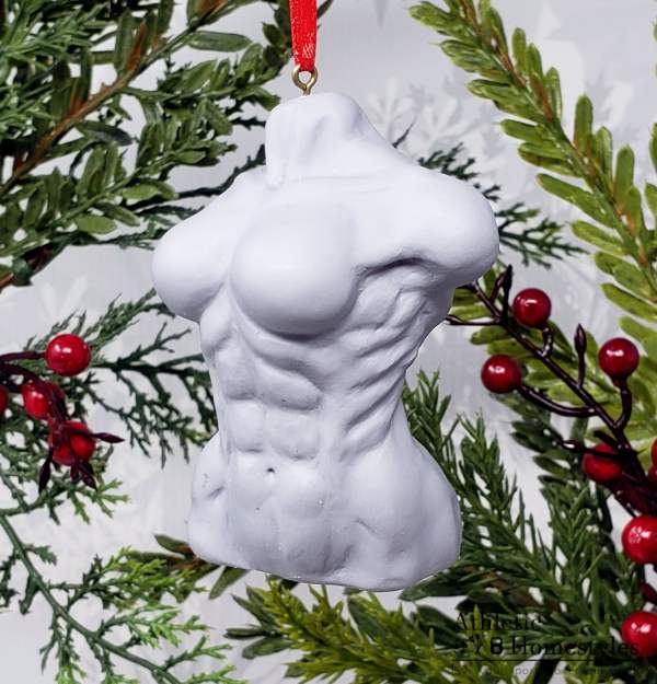 Female Bodybuilding Physique Bust Sculpture IFBB Swole Muscular Muscles Strong Strongwoman Christmas Ornament Decoration