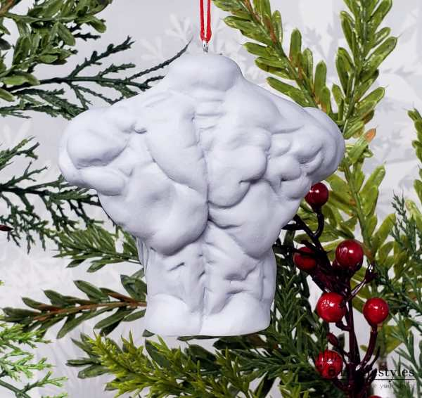 Male Bodybuilding Physique Bust Sculpture IFBB Swole Muscular Muscles Strong Strongman Christmas Ornament Decoration