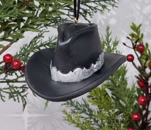 Cowboy Hat Christmas Ornament Western Lifestyle Decoration Decor Gift Cowgirl Farm Ranch Life Rodeo Bronco