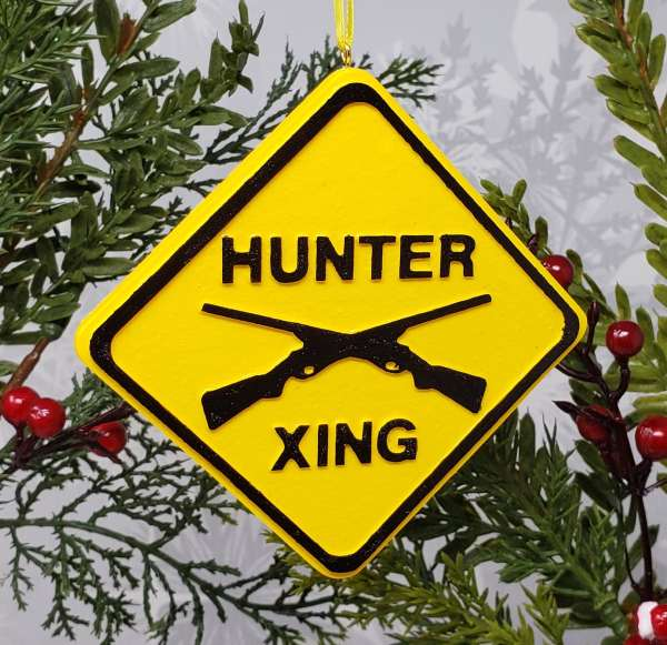 Hunter Crossing Xing Warning Caution Ahead Christmas Ornament Decoration Lifestyle Recreation Hobby Big Game Deer Gun