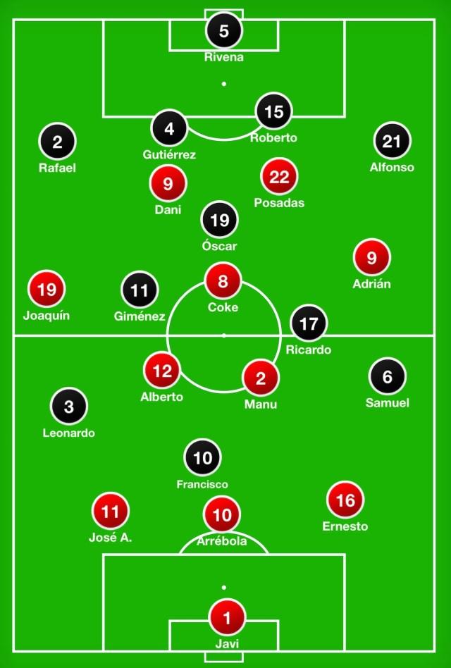 Ya con el 0-2, el Rompeolas dibujó una línea de solo tres defensas y adelantó a Manu al centro del campo. Joaquín salió por la derecha y David dio el relevo a Ernesto.
