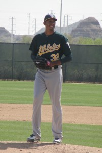 Michael Ynoa is a towering figure on the mound at Papago Park