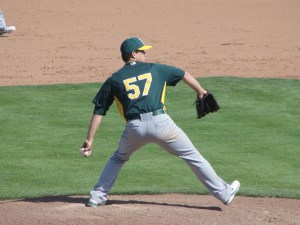 Tommy Milone gave up 3 runs and struck out 4 in 5 1/3 innings to earn the win against the Giants in Scottsdale on Saturday
