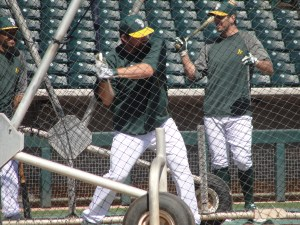 Derek Norris, the A's spring home leader, taking his hacks in the cage