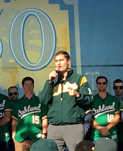A's President Dave Kaval onstage at FanFest