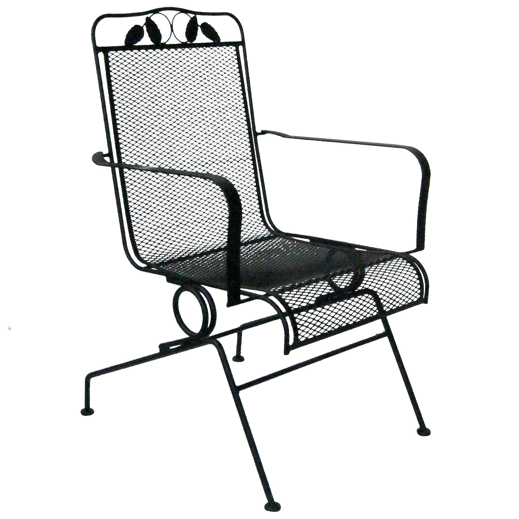 Spring Chair Black Wrought Iron Spring Base Sliding Chair