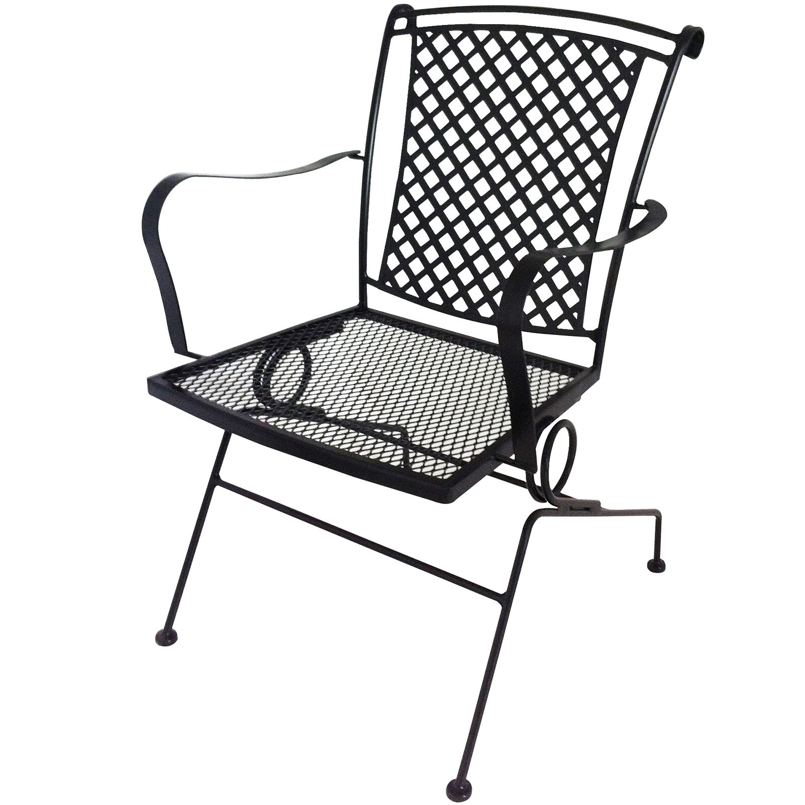 Spring Chair Wrought Iron Lattice Back Spring Chair Black