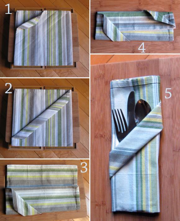 napkin folding diagonal pocket