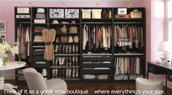 stylish dressing room with a neat dream closet by ikea