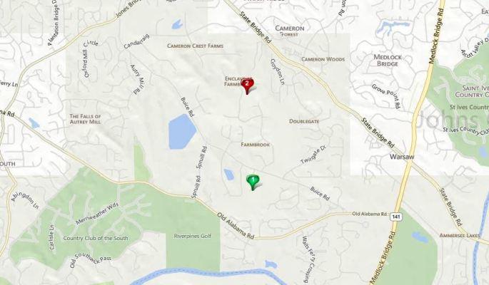 Johns Creek GA Map Farmbrook Location