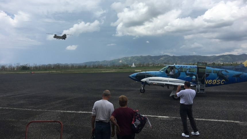 aftermath of hurricane maria - chinook taking off at mayaguez airport before we got on our capeair flight
