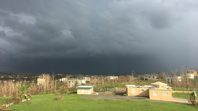 At Home In Puerto Rico - Government Caused Financial Hurricane - picture of storm clouds in Aguada