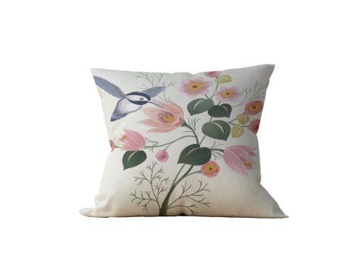 Almofada Decorativa Flor & Beija-Flor - 45x45