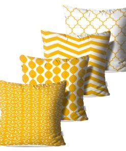 Kit com 4 Almofadas Decorativas Geométricas White & Gold - 45x45 - by #1 AtHome Loja