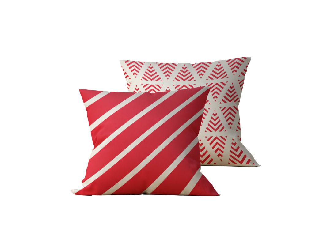 Kit: 2 Almofadas Decorativas Faixas Vermelhas - 45x45