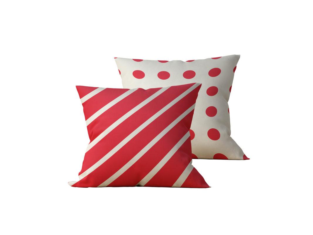 Kit: 2 Almofadas Decorativas Faixas Vermelhas Duo - 45x45
