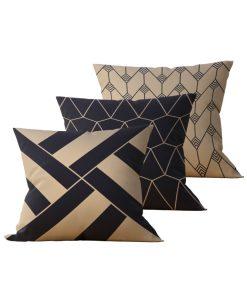 Kit: 3 Almofadas Decorativas Geométrica Black Gilt - 45x45