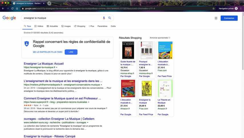 Recherche Google Enseigner La Musique