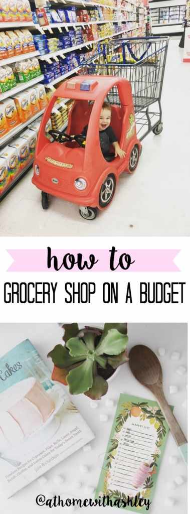 grocer shopping on a budget for a family. Tips and a free printable to help you make a weekly list and saving money without coupons