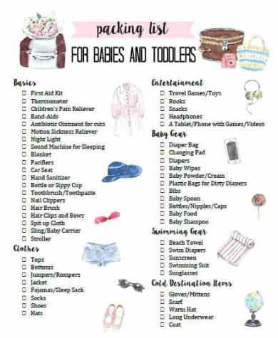 How To Pack For Babies And Toddlers With Free Printable At Home With Ashley