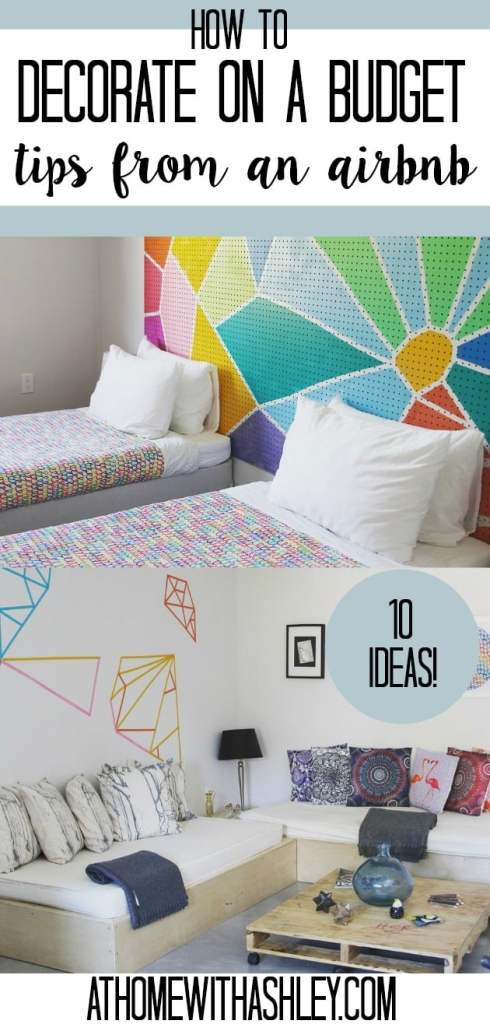 How to decorate on a budget- tips from an Air BNB. Home decor ideas for cheap! There are some fun DIY ideas- from bedroom decor to wall hangings so you can save money on your house #homedecor