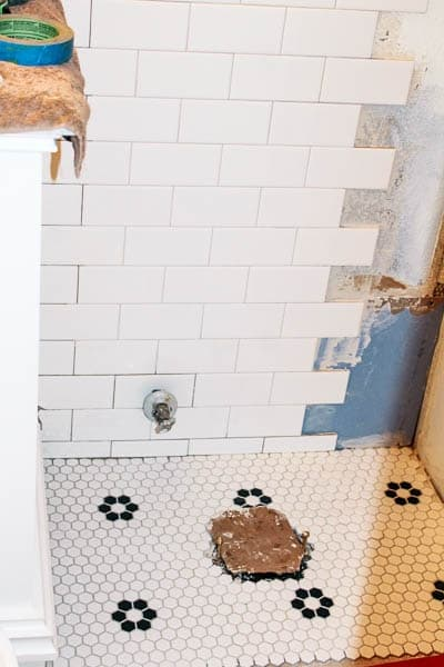 Again, We Only Tiled Where We Absolutely Had To  On The Floor Around The  Toilet And The Wall Behind The Toilet.