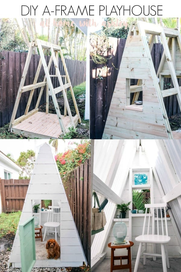 pin image DIY A FRAME PLAY HOUSE tutorial - at home with Ashley