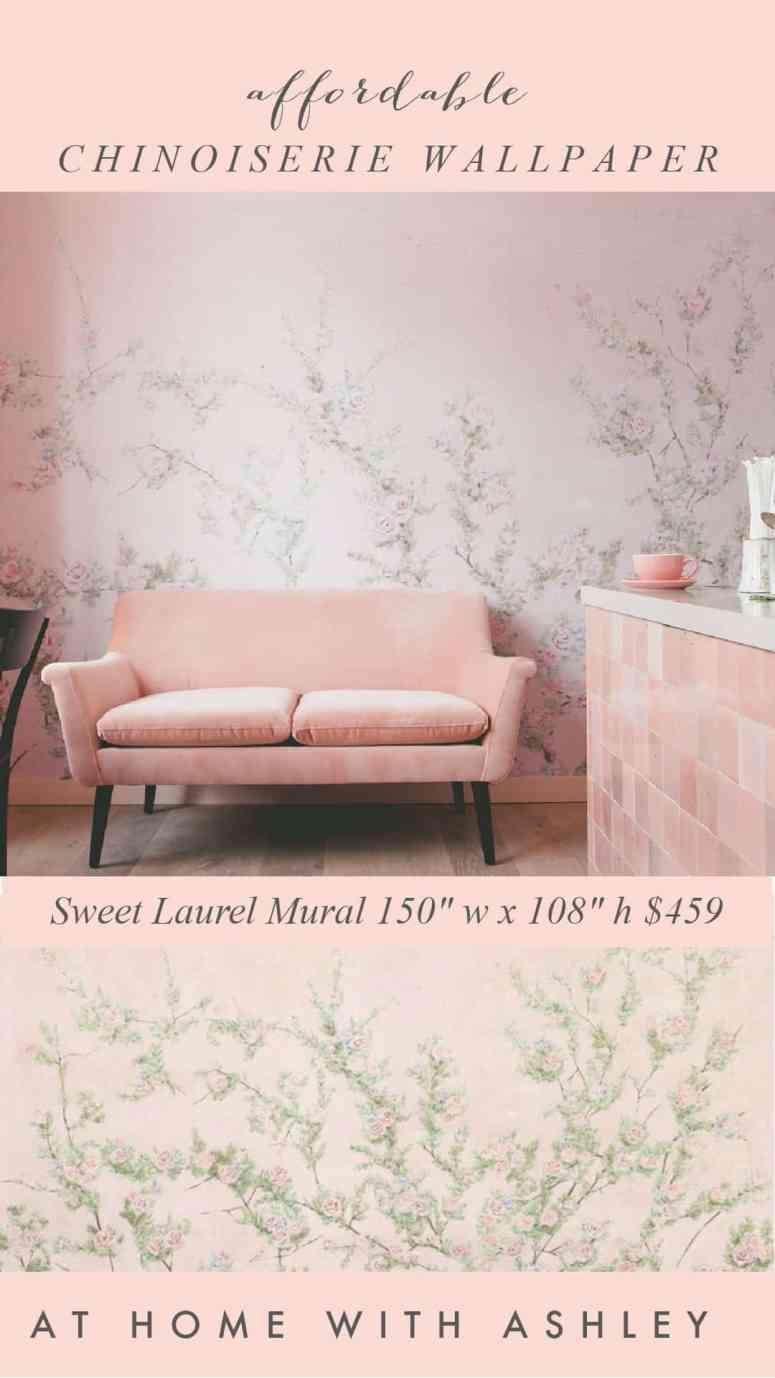 chinoiserie wallpaper that is affordable and beautiful. I have a bunch of gorgeous and removeable (self adhesive) wallpapers- perfect for an accent wall, tempoarry wall, apartments, bathroom, and bedrooms. I show how they look in a home and the best price. You can find these vinyl wallpaper products in the pretty chinoiserie pattern from Urban outfitters, Etsy, and Amazon. I share ideas for adding them to your home and tips to selecting the right scale,