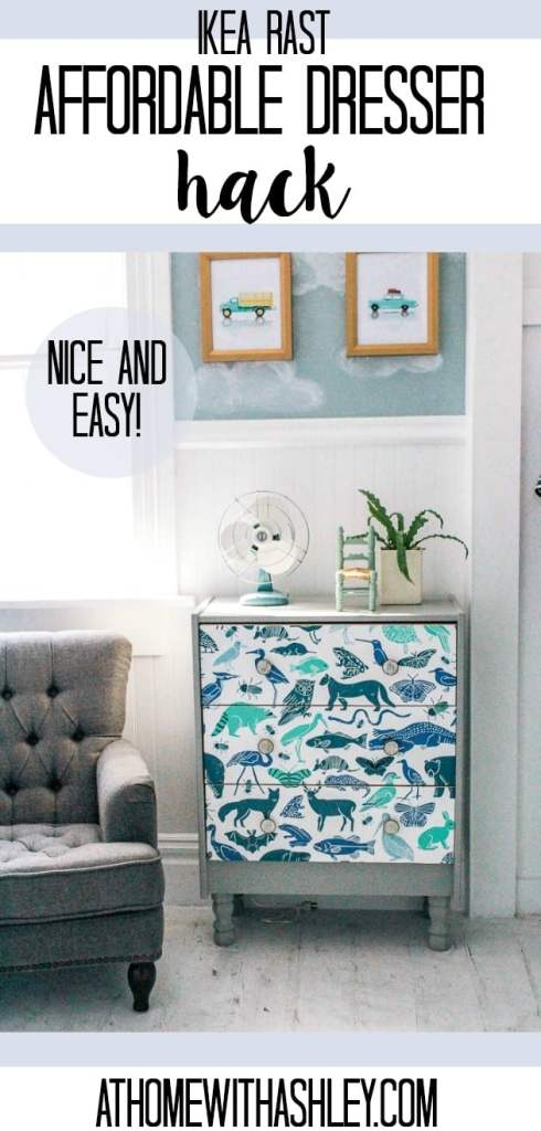 ikea rast dresser hack perfect for a nightstand or dresser in a bedroom. I painted this budget piece with chalk paint and then used wallpaper on the drawers. A bottom was added so legs could be attached. This DIY chest was designed for a boy, but would be great for all kids. Click through for this awesome makeover!