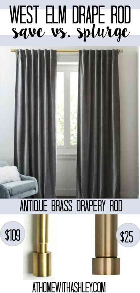 west elm drape rod- a save option that is just as cute with great reviews on amazon! These curtain rods are gold and modern and affordable. Your window will look so cute with these ideas!