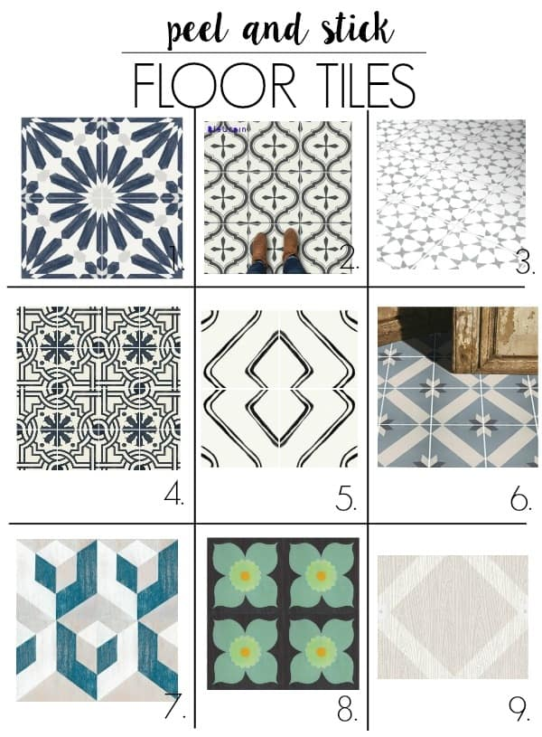 peel and stick bathroom tile for the floor. These will work in the bathroom, kitchen, laundry room, living room, or a bedroom. They will stick over linoleum, concrete, or ceramic. I show you how to DIY thes with some ideas for cute pattern options!