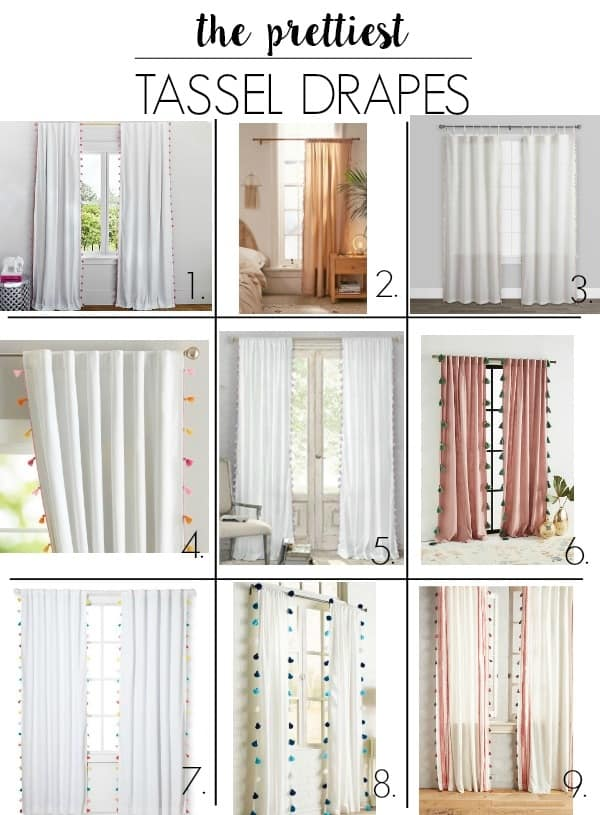 the prettiest tassel and velvet drapes. I have a round up of modern pink crushed velvet and white tassel fabric curtains. Plus I share what I selecte and the perfect gold drape rods to go with them. Your window will look so cute with these ideas!