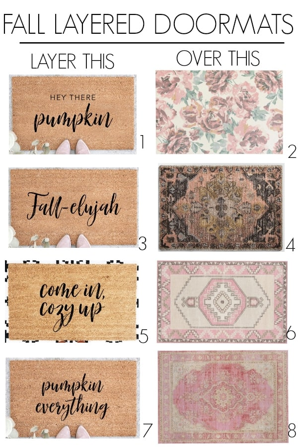 fall door mats on front porchs. Front porch decor ideas for a small area. Create curb appeal with a simple trick, layer rugs under your doormat. Some fun picks to achieve the layered doormat look for autumn and Halloween!