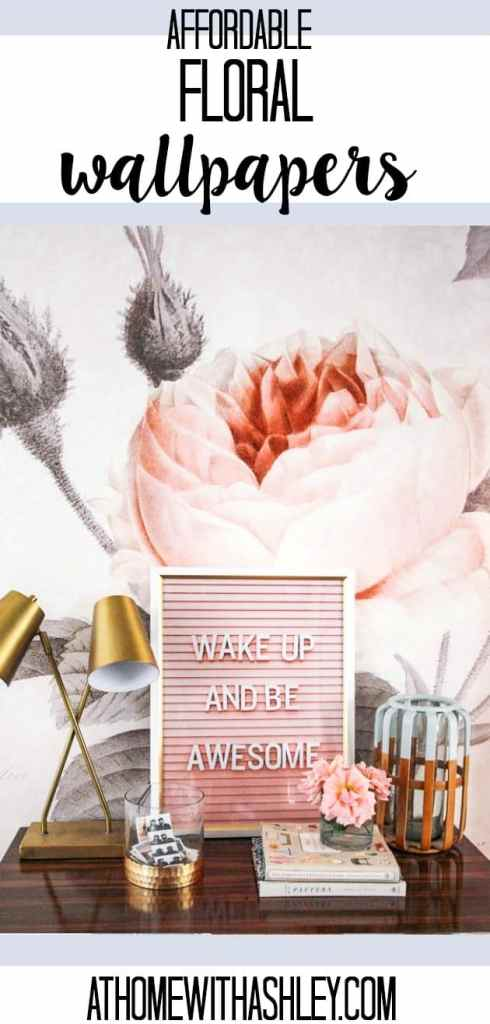 affordable floral mural. Are you looking for cute wallpaper for your baby's nursery, a bedroom, bathroom, or an accent wall? I have removable, vintage looking, modern, bright, and pink options that are affordable!