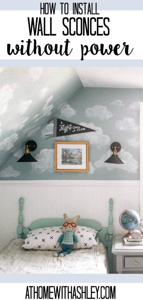 how to have sconces without power or pluges. These wall fixtures would be perfect in a bedroom, living room, hallway, bathroom, dining room, kitchen or stairway. I included some fun styles like farmhouse, rustic, and modern. This DIY will solve all of your lighting problems! Click through for this magic light trick!