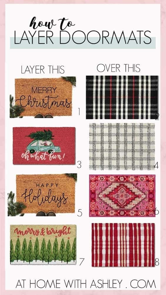 holiday front porch. Ideas for how to decorating your front door to be festive for Christmas. From garland to lanterns to outdoor pillows and a wreath I share some DIY decorations to create a pink elegant first impression. Plus a few LED lights that double as speakers for holiday music. And ideas for layering doormats for the winter.