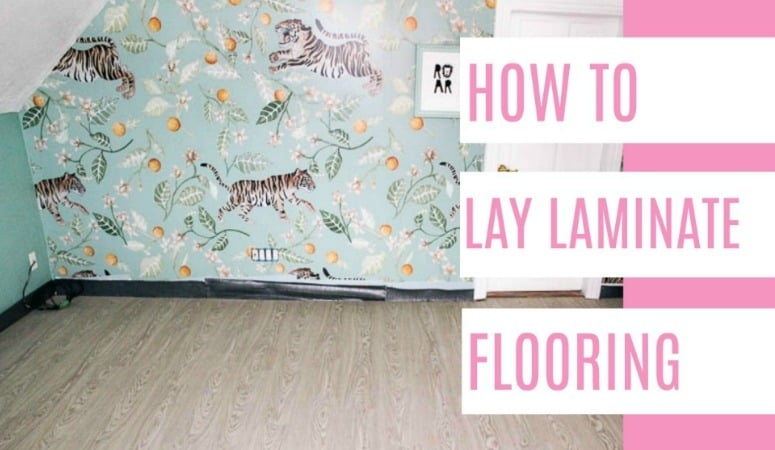 How to lay laminate flooring- an easy DIY that I promise you can install! I share all the information you need with a video tutorial. Tips and step by step instructions so you can do it too! Stop by for every detail you need!