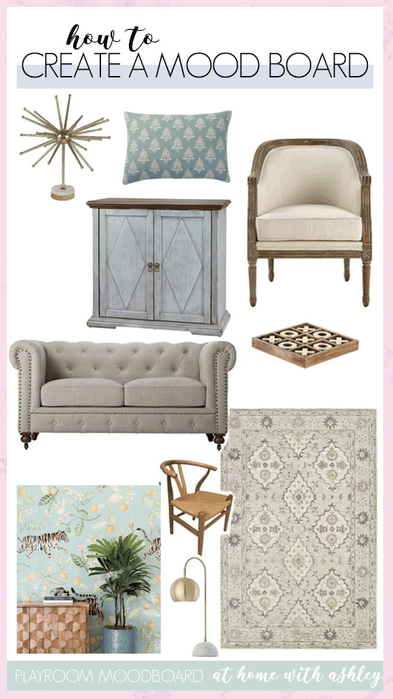 how to make a mood board without photoshop. This is perfect for redecorating a room and is exactly what every interior designer does to viduualize a room. I'll show you a step by step video tutorial for how to create a mood board collage with inspiration for how to DIY one yourself.