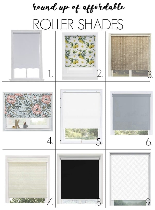 Roller shade round up. I have ideas for putting these up in an office with drapes for a modern look. They will also work in a kitchen, bedroom living room, and office. They are also know as roll upu blinds and work nicely with curtains. I have the blackout version and love them! Click through for my 9 favorite roller shades!