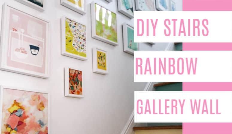 DIY Stairs Rainbow Gallery Wall