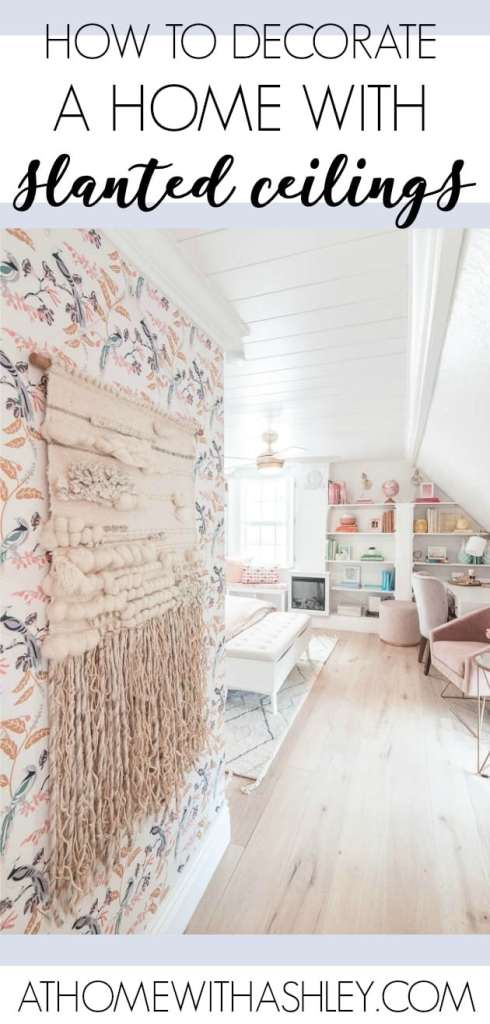 how to decorate with slanted ceilings. If your walls have a slope (also called eaves), I have some ideas for how to design your living room, bathroom, kitchen, office, bedroom, or play room to work with the ceilings and not against them. You can add shiplap to the walls for decoration, put up skylights, or build in bookcases. I also share ideas for dealing with a fireplace and storage.