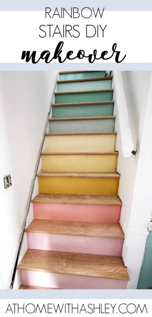 ranibow stairs renovation. Ready to see my staircase makeover?! This is a DIY project with wood oak treads and painted raisers to look like a pastel rainbow. I wanted a modern and unique design. These stairs used to have carpet. After that it was a second layer of stairs. The decor is looking much better with a simple railing