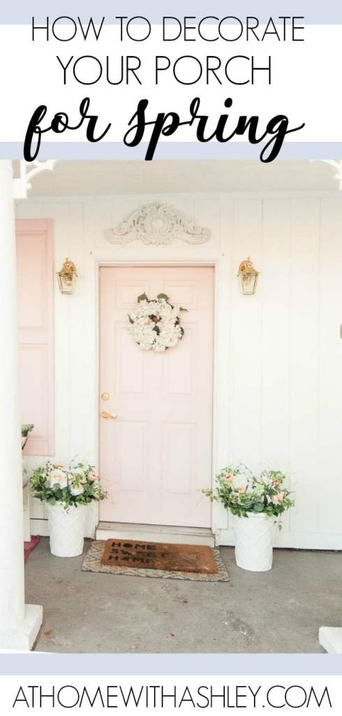 spring front porch. How to decorate your front entrance for each season. Ideas on decorations to use includiong planters, a wreath, and how to layer doormats. Decorating a porch is simple and I teach you how. Pink front door, bench, pots, flowers.