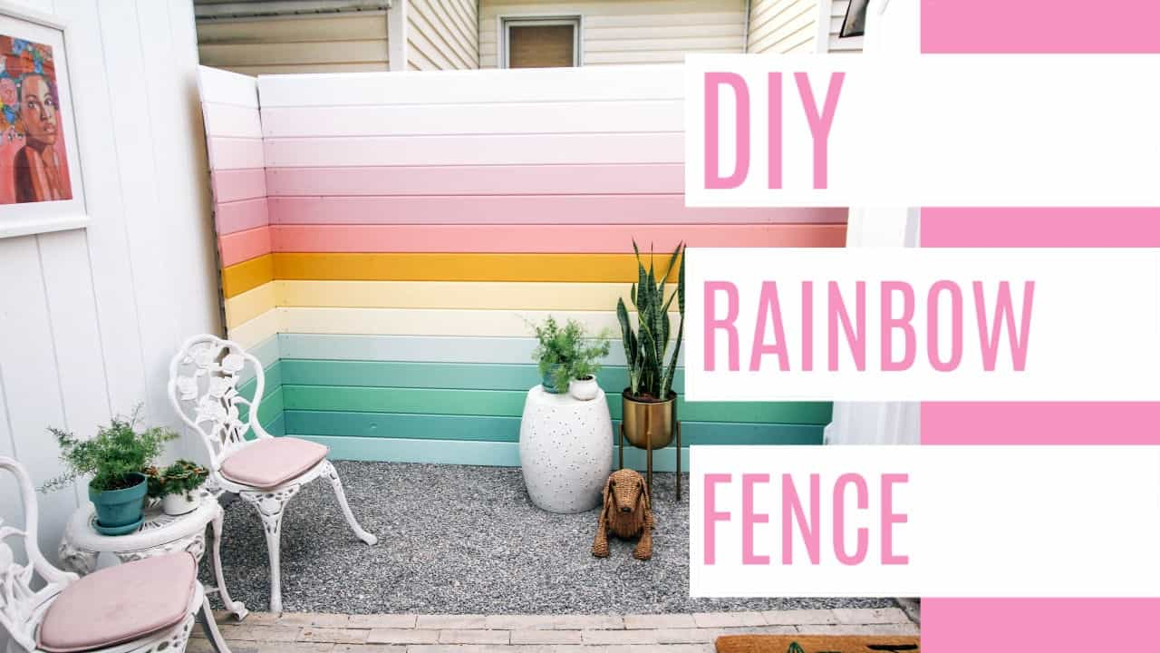 DIY Rainbow Fence - at home with Ashley on patriotic home design, arch home design, river home design, tree home design, glow home design, pinks home design, europe home design, neutral color home design, bohemian home design, rabbit home design, grey home design, tornado home design, bad home design, glam home design, asia home design, horizon home design,
