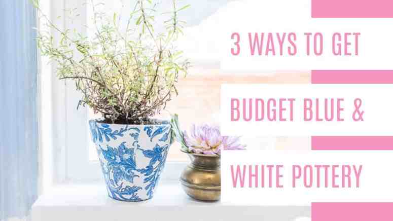 Blue and white pottery decor is so gorgeous! It's a great wedding accent too. But it can also be pricey. So I put together 3 budget-friendly ways to get a blue and white pottery look. There's even a quick and simple DIY to get that beautiful ceramic look for only a few dollars. I love how mine turned out! #blueandwhitepottery #easyDIY
