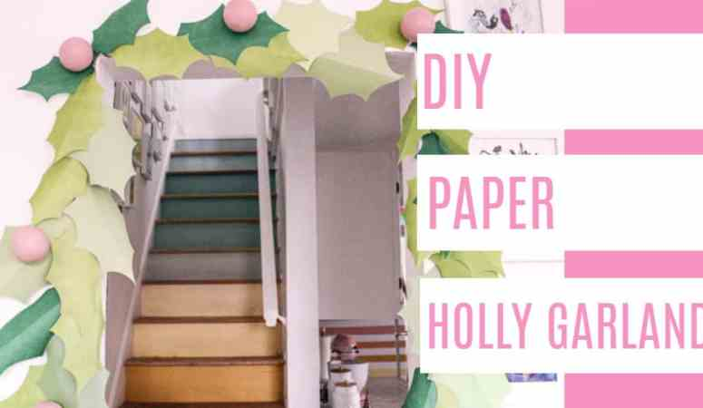 DIY Paper Holly Garland